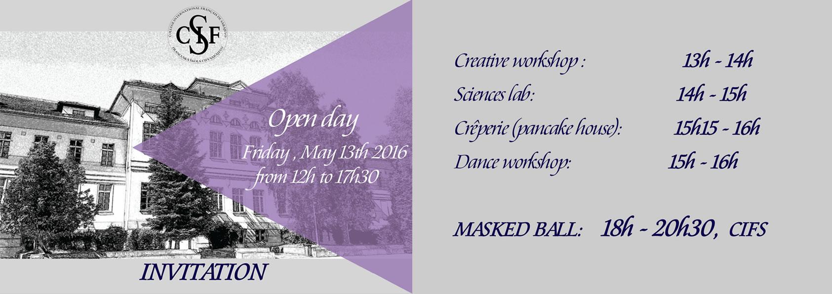Open day @ CIFS - Invitation