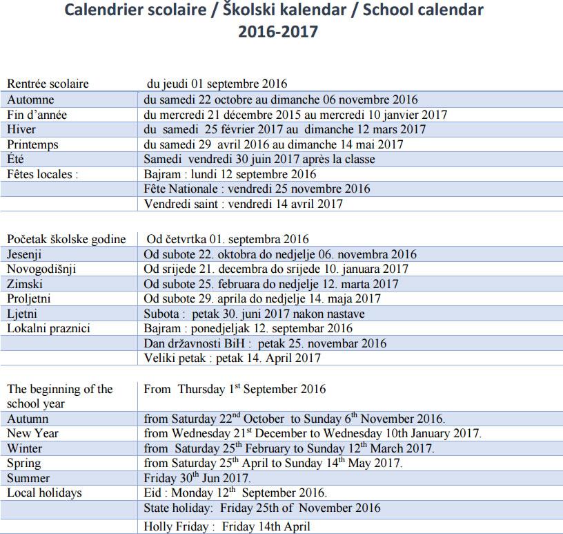 School Caleendar 16-17